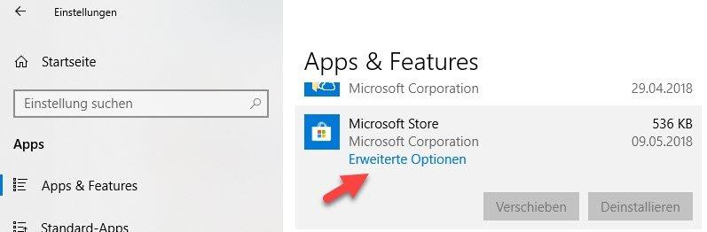 erweiterte Optionen für Apps
