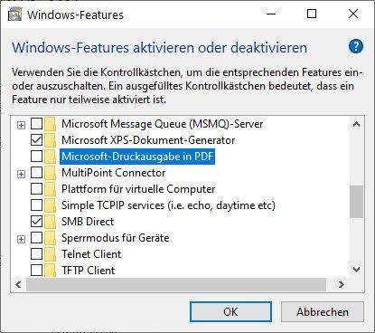 Microsoft-Druckausgabe in PDF erst deaktivieren
