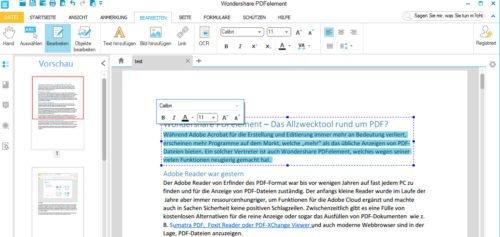 Editieren von Text