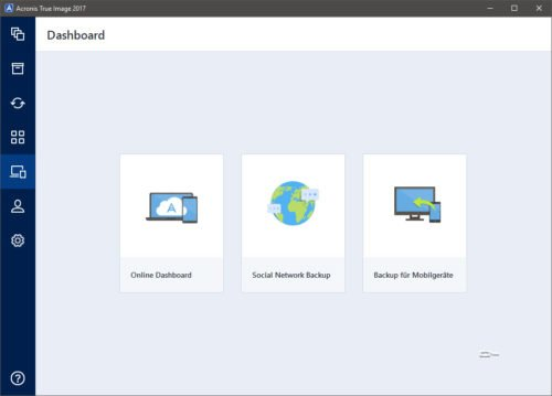 Acronis True Image 2017, Dashboard