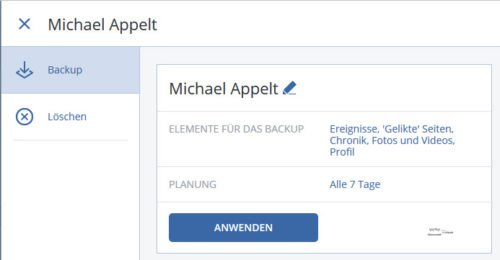 Acronis True Image 2017, Backup soziale Netzwerke