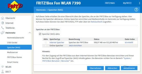 Fritz!Box - Speicher für Empfang