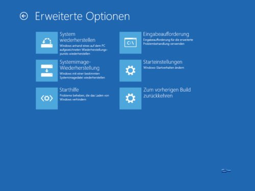 Erweiterte Optionen Windows 10