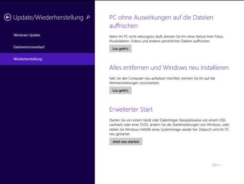 Wiederherstellung unter Windows 8.1