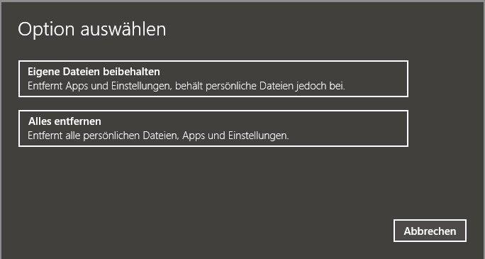 Zurücksetzen Windows 10