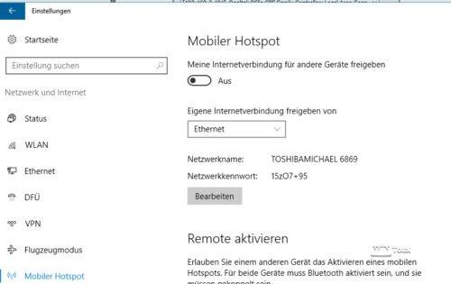 Mobiler Hotspot Windows 10