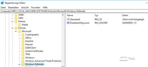 Windows Defender deaktivieren
