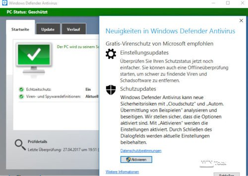Windows Defender unter Windows 10 mit GUI