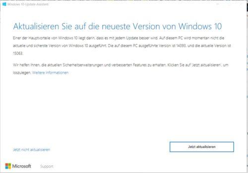 Windows 10 aktualisieren