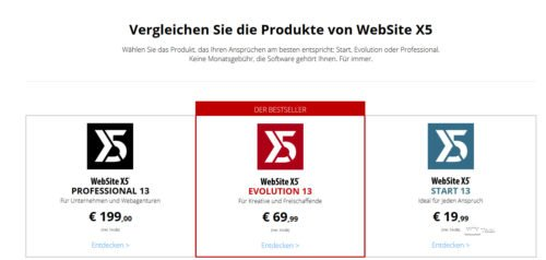Editionen von Website X5
