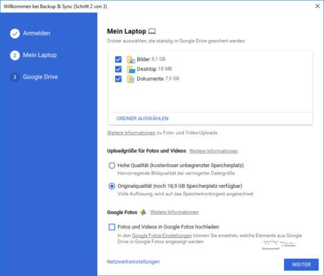 Google Backup und Sync