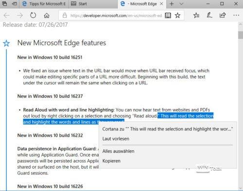 Microsoft Edge Vorlesen