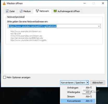 VLC Media Player konvertiert Online-Inhalte