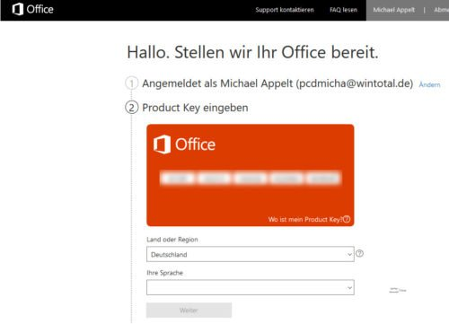 Office Product Key eingeben