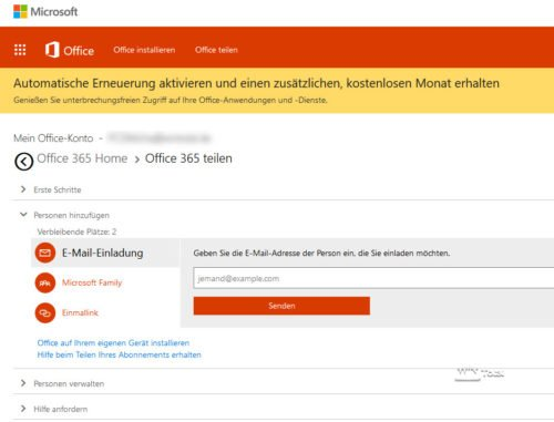 Office-Konto Einladung