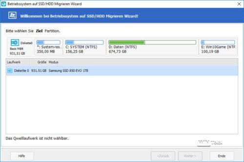 Migration von HDD auf SSD