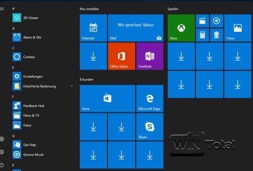 Fehlende Apps im Startmenü von Windows 10