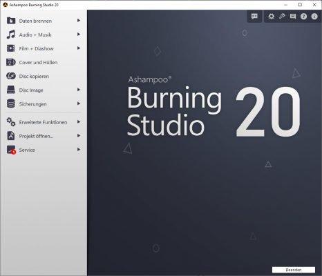 Ashampoo Burning Studio 20 kontrastreiche Oberfläche
