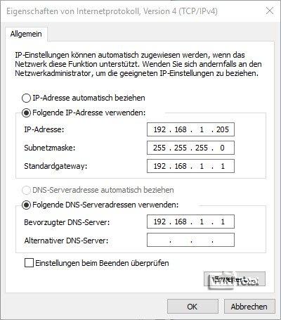 Manuelle IP-Vergabe