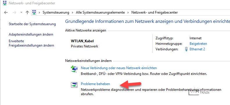 Probleme mit Netzwerk beheben