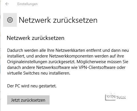 Netzwerk zurücksetzen