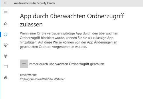 App durch überwachten Ordnerzugriff zulassen