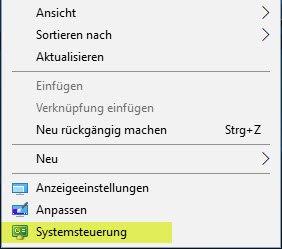 Systemsteuerung über das Kontextmenü auf Desktop