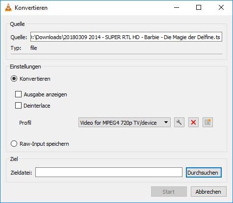 Konvertieren mit VLC
