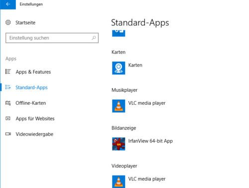 Standard-Apps in Windows 10