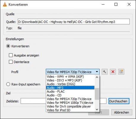 VLC konvertiert Audio-Dateien
