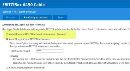 Anmeldung an FRITZ!NAS Web
