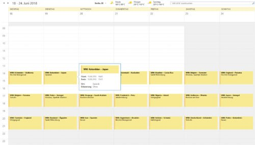 WM-Spielplan 2018 als Outlook-Kalender (iCal)