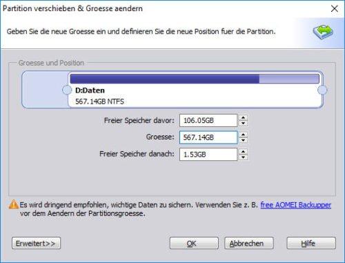 Verkleinern Sie die Partition hinter der Systempartition, um später die Windows 10 Partition vergrößern zu können