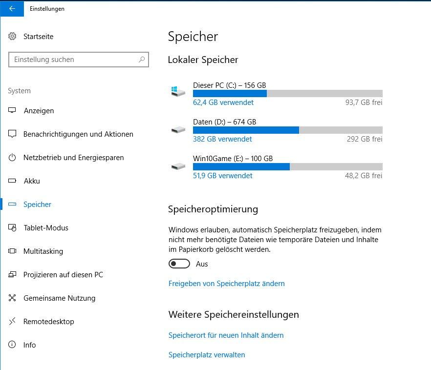 Speicher in Windows 10