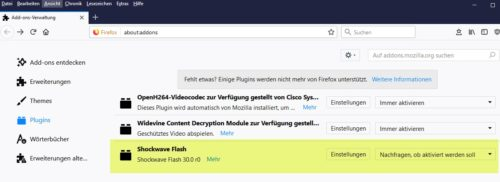 Flash Firefox aktivieren