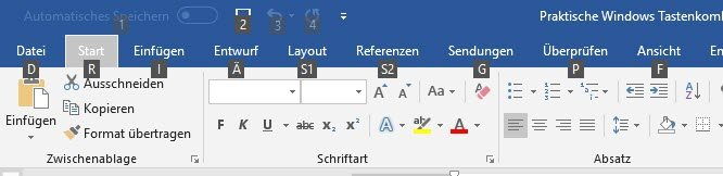 Ribbon-Leiste in Word
