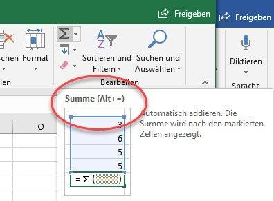Anzeige von Tastenkombination in Excel
