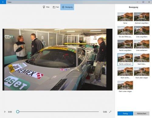 Foto-App in Windows 10, Bewegungen