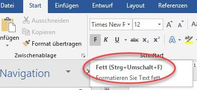Tastenkombination in Microsoft Word