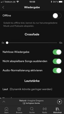 Nahtlose Wiedergabe in Spotify