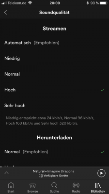 Streamqualität in Spotify