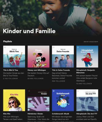 Kindermusik und -hörspiele in Spotify