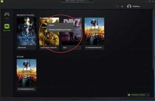 Desktopverknüpfung von Spielen in GeForce NOW