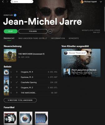Künstleransicht in Spotify