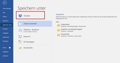 Dropbox in Microsoft Office