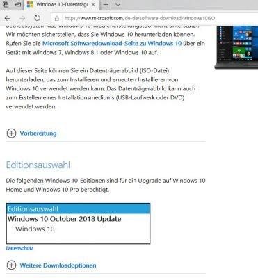 Windows 10-Datenträgerabbild (ISO-Datei) herunterladen