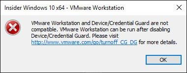 Fehlermeldung in VMware