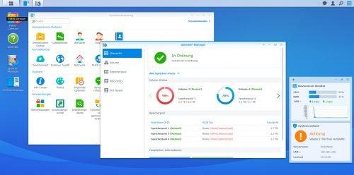 Oberfläche des DSM mit verschiedenen Fenstern und einem virtuellen Desktop