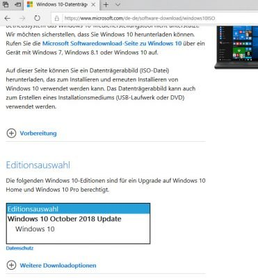 Editionswahl beim download windows 10