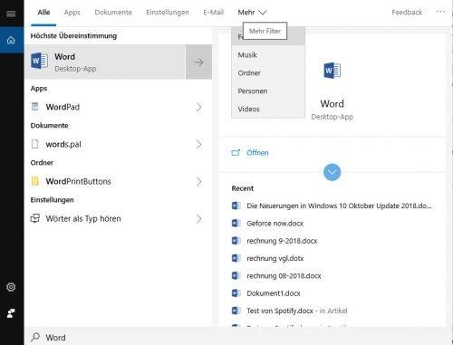 Suche in Windows 10